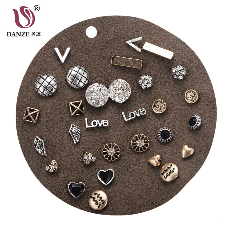 DANZE 15 Pairs/lot Vintage Ancient Gold Color Angel Wings Heart Shaped Stud Earrings Set For Women Punk Piercing Jewelry Brinco
