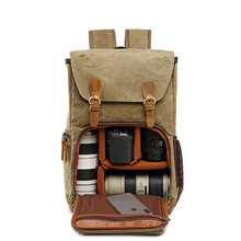 Batik Canvas Waterproof Photography Bag Outdoor Wear-resistant Large Photo Camera Backpack Men for Fujifilm Nikon Canon Sony