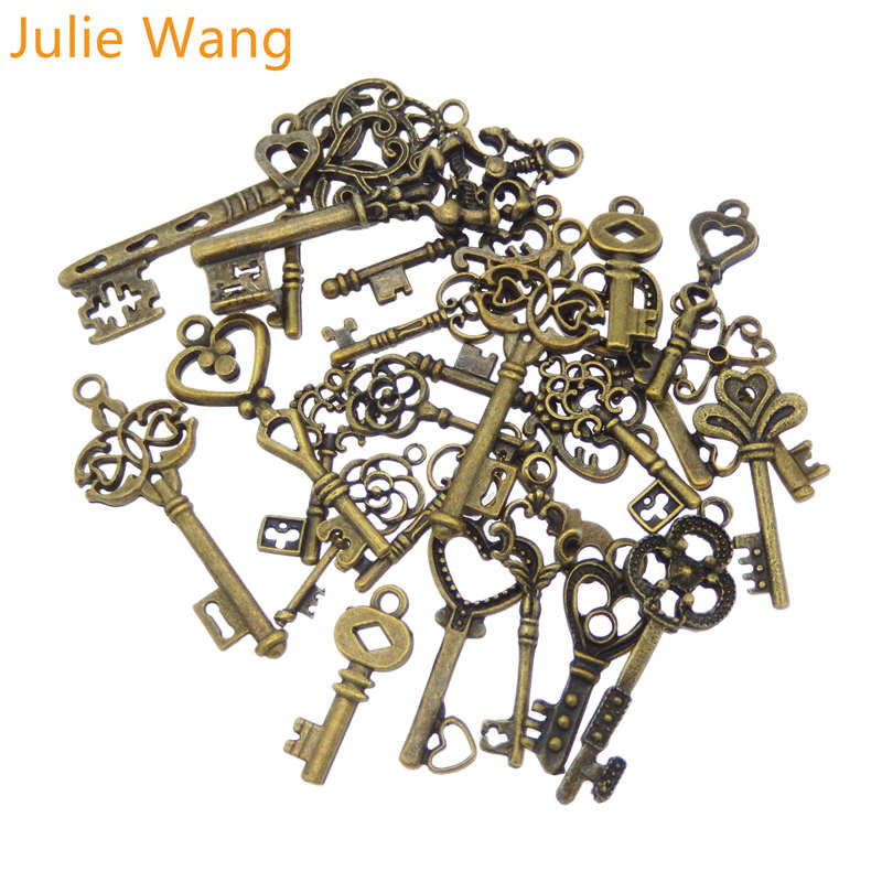 Julie Wang 24PCS Mixed Alloy Antique Bronze Key Shape Charms Neckalce Pendant Bracelets Findings Jewelry Making Accessory(China)