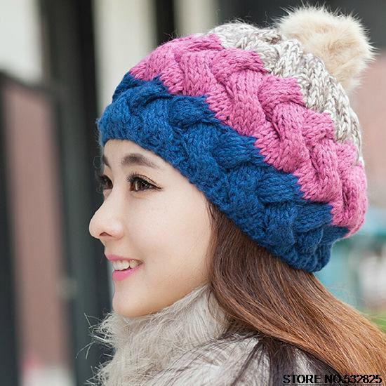 8e911f8de76 Color matching Rabbit fur ball Woolen hat Fall Winter Knitted cap Womens  Skullies Girls Hats Warm Beanies Free Dropshipping-in Skullies   Beanies  from ...