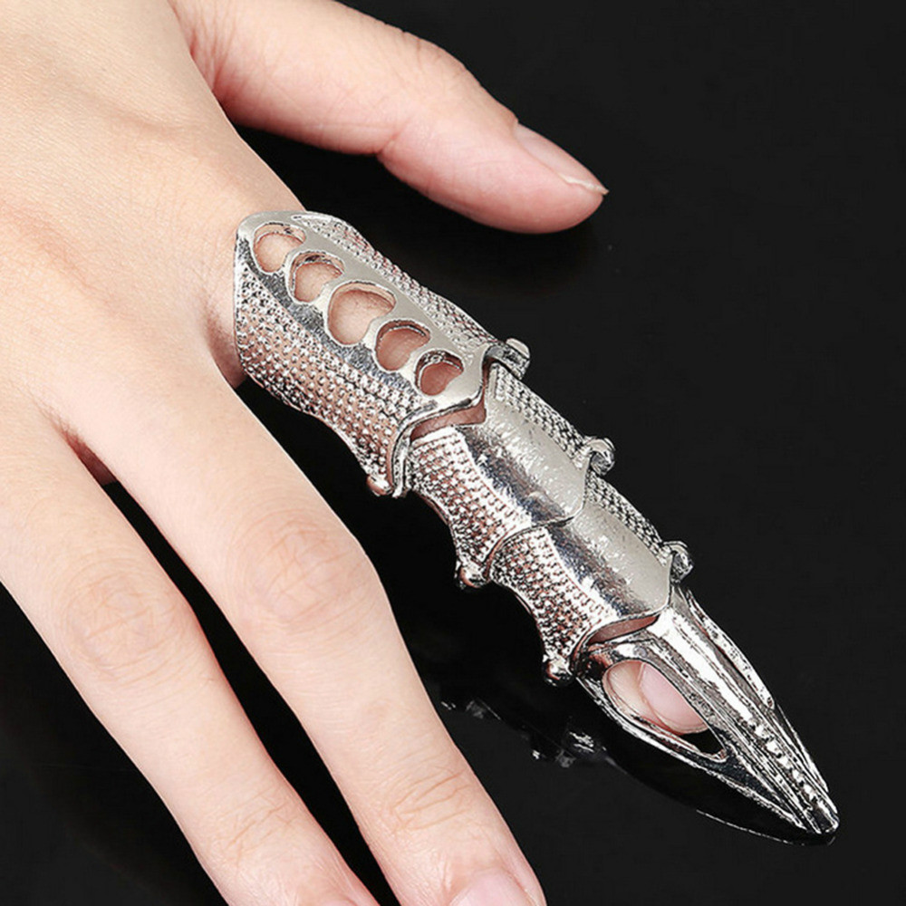 Jiaoyu Metal Retro Goth Punk Style Exaggerated Long Joint Nail Tail Ring for Men and Women