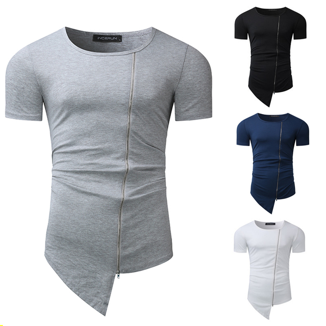 21a4f961f732 2018 New Brand T shirts Men Fashion Stylish Long Tshirt Asymmetrical Side  Zipper Round Neck Short Sleeve T-Shirt Tee Shirt Homme