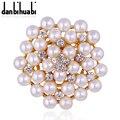 Exquisite Imitation Cream Pearl Flower Pin Brooch Diamante Rhinestone Wedding Brooch Pins Gold Plated Elegant Women Broach