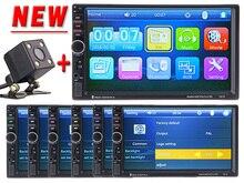 """Hot 2 Din Coche Reproductor de Vídeo 7 """"HD Bluetooth Stereo Radio FM MP3 MP5 Audio USB Electrónica de Automóviles autoradio Con Visión Trasera cámara"""