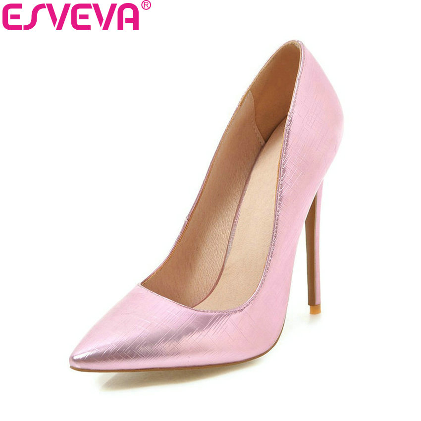 ESVEVA 2018 Women Pumps Shoes Simple and Fashion Style Thin Super High Heels Pointed Toe Ladies Pumps Shallow Shoes Size 34-43 цена