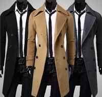 冬の高品質メンズ コート ファッション布コート ダブルブレストダスターコート