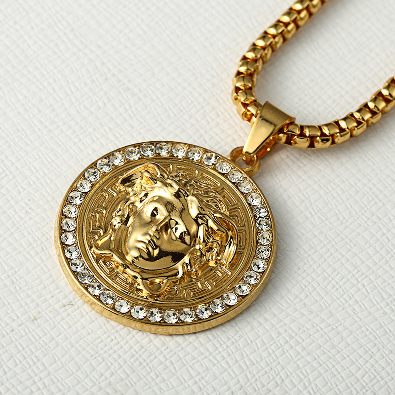 Head Athena Avatar Pendant Necklace 24k Gold Plated ...