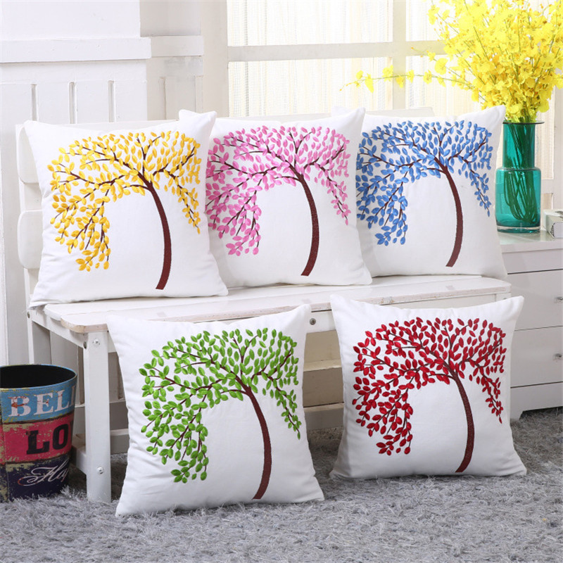 colorful cushions covers home decor cotton linen decorative cushion covers for sofa blue trees embroidered cushion - Home Decor Cushions