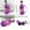 Envío Libre NN Parte Auto Mini Tanque Botella de Óxido Nitroso de Color púrpura Llavero Llavero Keyfob Stash Caja de La Píldora almacenamiento