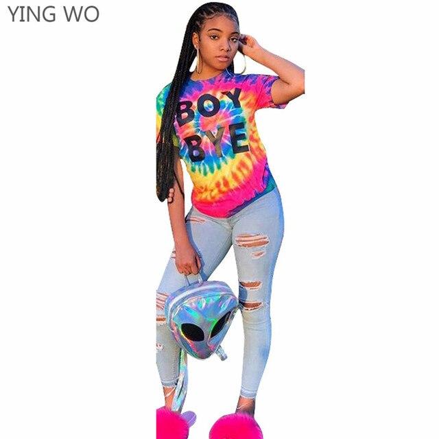 35f60ab705ced BOY BYE Multi Color Tie-dye Fashion Women New Summer Tees Casual Ladies  Streetwear Style Short Sleeve O-neck Tee Tops Online