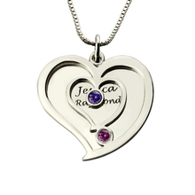 AILIN Personalized Two Names Heart Necklace in 925 Silver with Birthstone Couple Engraved Name Heart Jewelry