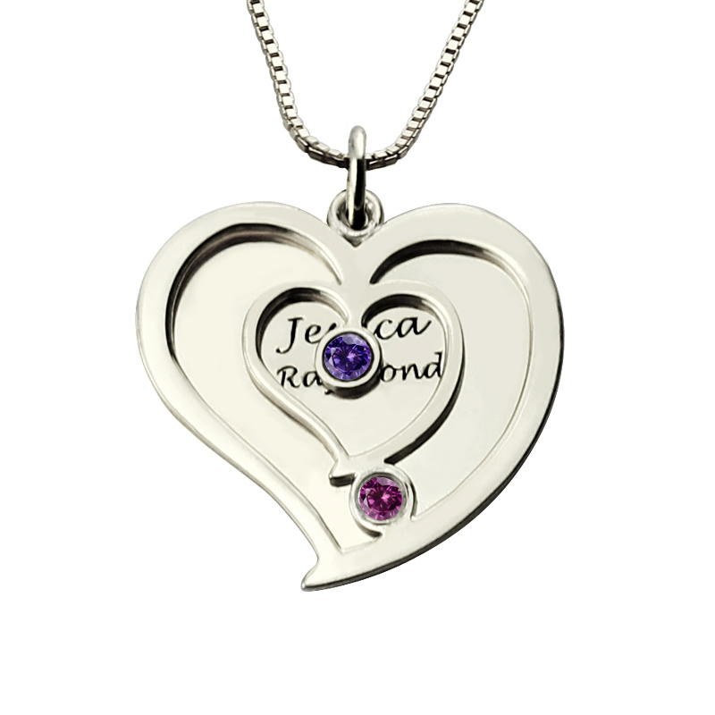 Personalized Two Name Heart font b Necklace b font in 925 Silver with Birthstones Couples Name