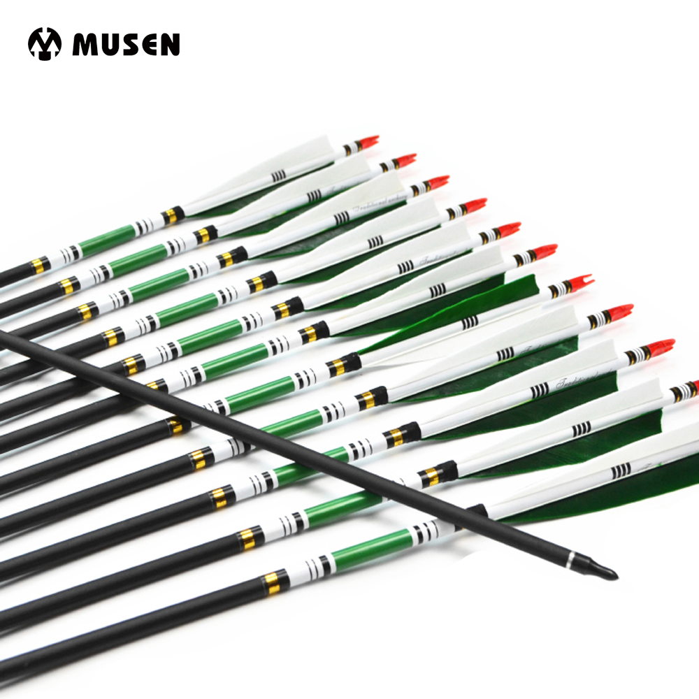 12st / pack Spine 500 Carbon Arrows Målpunktspilar med bytbar tipspunkt Turkietfjäder OD7.6mm Archery Arrows