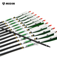 12pcs/pack Spine 500 Carbon Arrows Target Point Arrows with Changeable Tip Point Turkey Feather OD7.6mm Archery Arrows