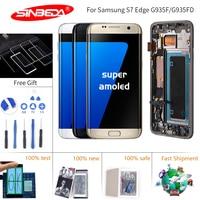 5,5 Sinbeda Super AMOLED для SAMSUNG S7 Edge ЖК дисплей с сенсорным экраном дигитайзер Рамка G935 G935F ЖК дисплей для S7 Edge экран Ekran