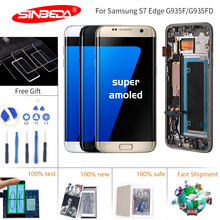 5.5 Sinbeda Super AMOLED For SAMSUNG S7 Edge LCD Display Touch Screen Digitizer Frame G935 G935F for Ekran