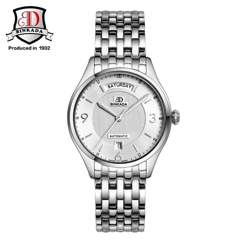 все цены на 2017 BINKADA Automatic Watch Men Switzerland Watches Top Luxury Brand Watch Steel Strap Mechanical Watch Relogio Masculino