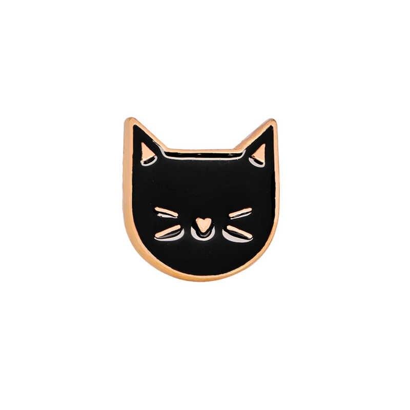 2 قطعة/مجموعة الحيوان دبابيس أسود أبيض القط المعادن المينا دبابيس النساء زوجين شارة التلبيب قميص الدنيم الاكسسوارات مهرجان هدية