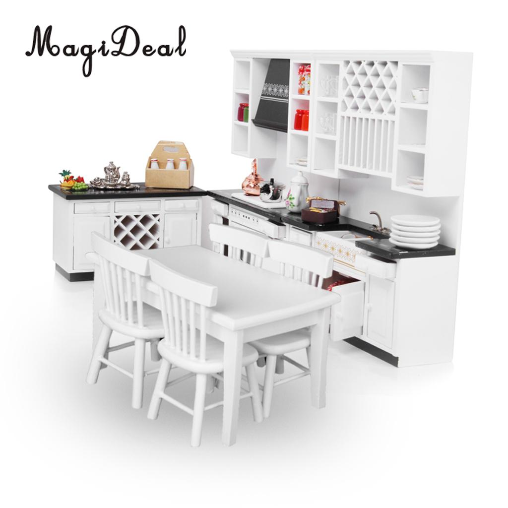 MagiDeal Top Sale 1/12 Scale Dollhouse Miniature Furniture Wooden Delxue Kitchen Set White For Pretend Play Game Toy Best Gift