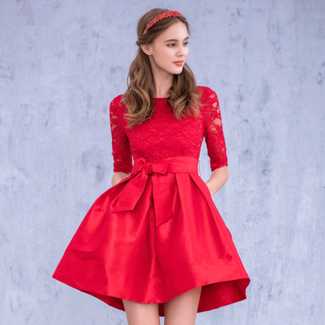 ae3c2e03fcb8a US $128.0  2016 Cheap Lace Top Red Short Graduation Dresses with Half  Sleeves High Neck Homecoming Cocktail Gowns Mezuniyet Elbiseleri-in  Homecoming ...