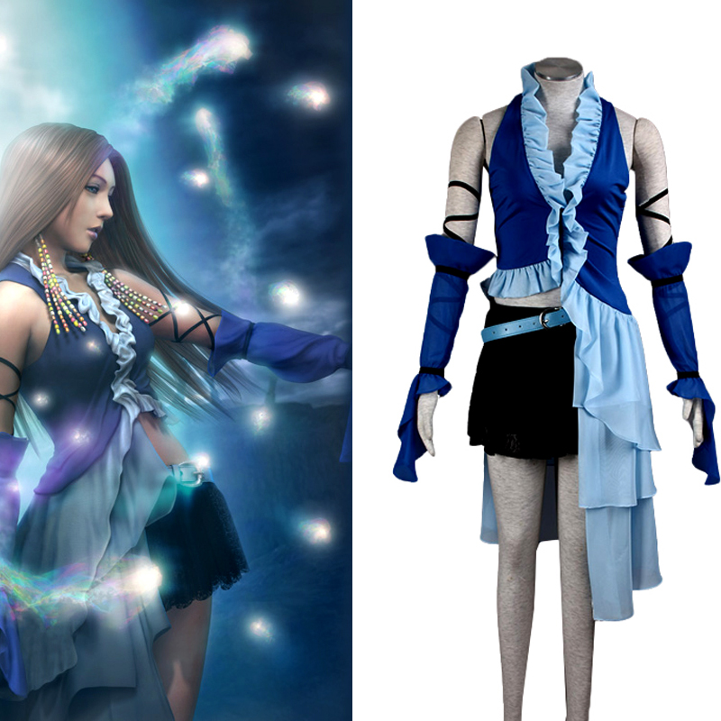 Anime Final Fantasy X Yuna Lenne Song Cosplay Clothing Yuna Costume Women's Performance Costumes Women Blue Dresses image