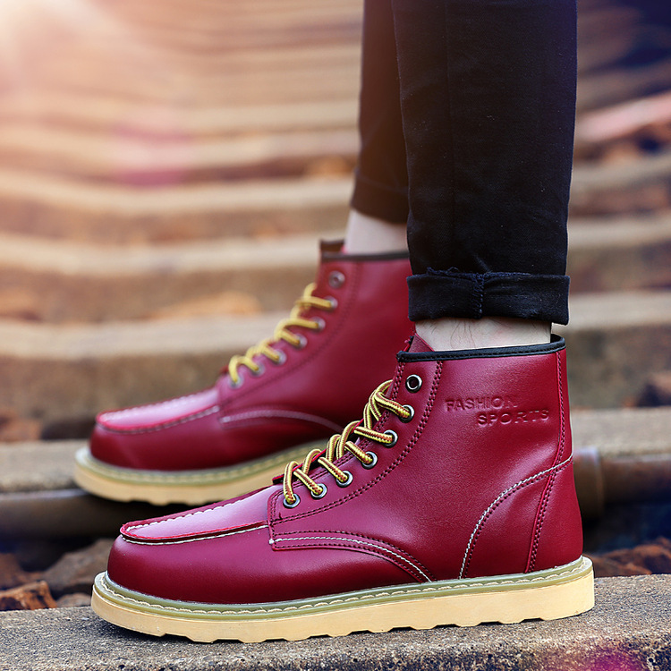 Men Boot Frenulum Autumn High Shoes Leather Motorcycle Boots Male Winter Shoe Casual Footwear Big Size