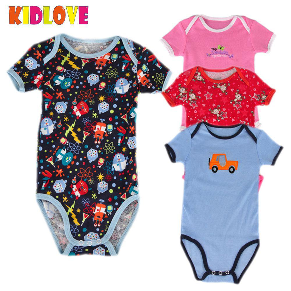 KIDLOVE 5pcs/set Baby Boys Girls Rompers Newborn Cute Cartoon Pattern Romper Sleeveless Cotton Vest Jumpsuit Summer Clothes