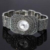 Одежда высшего качества Ограниченная серия Classic Silver Для женщин женские часы браслет реального серебряные часы чистый часы с серебряным бра