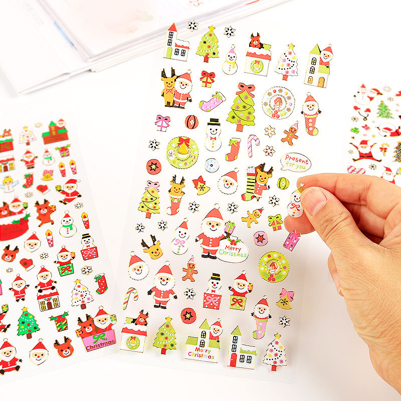 Merry Christmas Santa Claus Gilding Decorative Stickers Adhesive Stickers DIY Decoration Diary Stickers santa claus walking in the snow pattern stair stickers