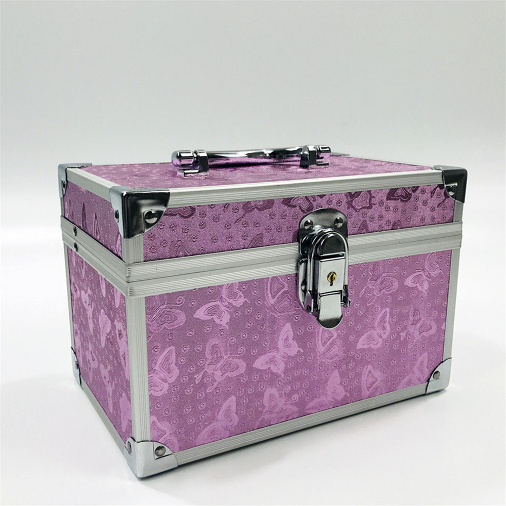 Professional Aluminium Alloy Make Up Box Pink Butterfly Makeup Case Beauty Case Cosmetic Bag Multi Tiers Lockable Jewelry Box