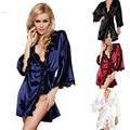 HOT 2017 Mulheres Sexy Lace Camisola de Cetim Sleepwear Noite Das Senhoras Lingerie e G-corda 30 Silk Robes Pijamas camisa de noite Das Mulheres