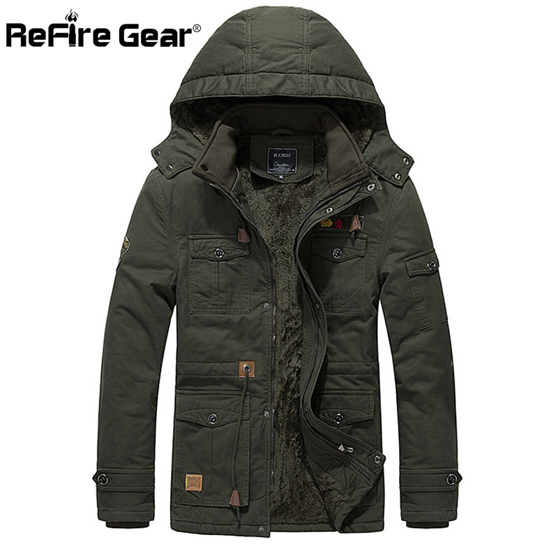 Refire Gear Winter Navy Fleece Jacket Males Heat Thick Hooded Coat Pilot Bomber Tactical Jacket Military Pocket Outerwear Clothes
