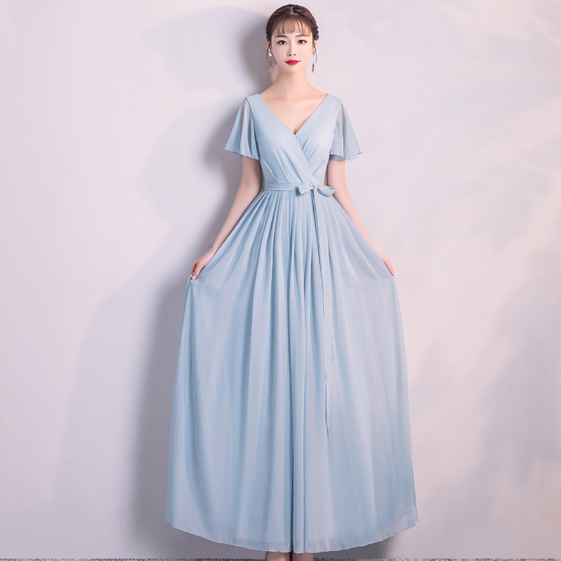 New Light Blue   bridesmaid     dresses   Elegant long wedding party   dress   Plus size V Neck blue   bridesmaid     dress   Tulle Robe Soiree