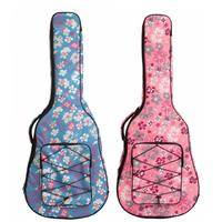 40 / 41 Inch Flower Printed Waterproof Folk Acoustic Guitar Bag Double Straps Canvas Pad 10mm Cotton Thickening Soft Cover