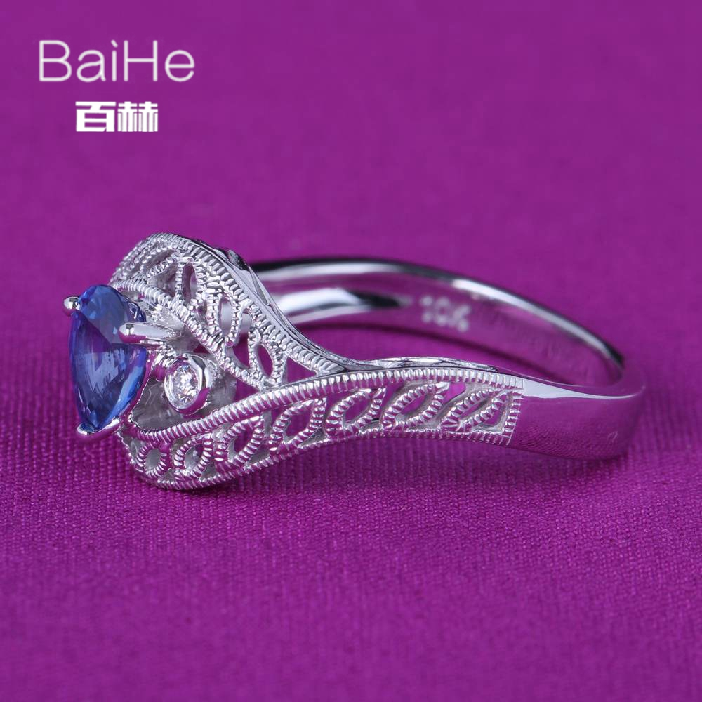 BAIHE Solid 14K White Gold(AU585)0.6CT Certified Pear Cut Natural Sapphire Wedding Women Elegant grace Trendy Fine Jewelry Ring