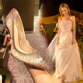 Crystal High Heels Women Pointed Toe Heels bling fashion Gold Black Shoes high heels pumps Transparent Party Wedding shoes