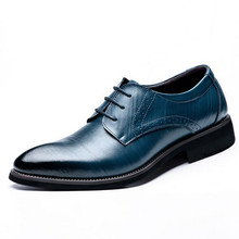 Willow Valley Cow Leather Men's Oxfrod Dress Shoes Lace-Up Paointed Toe Classic Oxfords Casual Business Shoes Black Blue