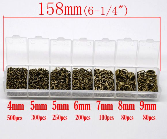 DoreenBeads 1 Box Mixed Antique Bronze Open Jump Rings 4mm-9mm,(1510 PCs Assorted)