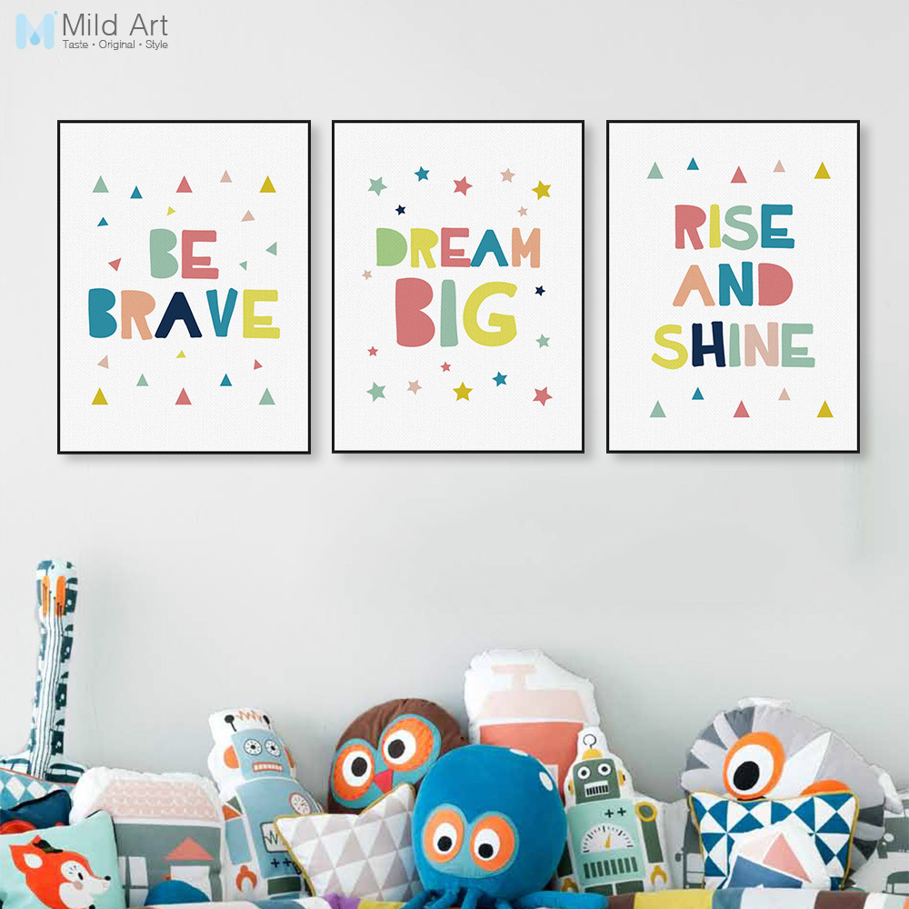 Modern Color Motivational Dream Quotes A4 Poster Wall Art Picture Cute Nordic Baby Kids Room Decor Canvas Painting Custom Gift