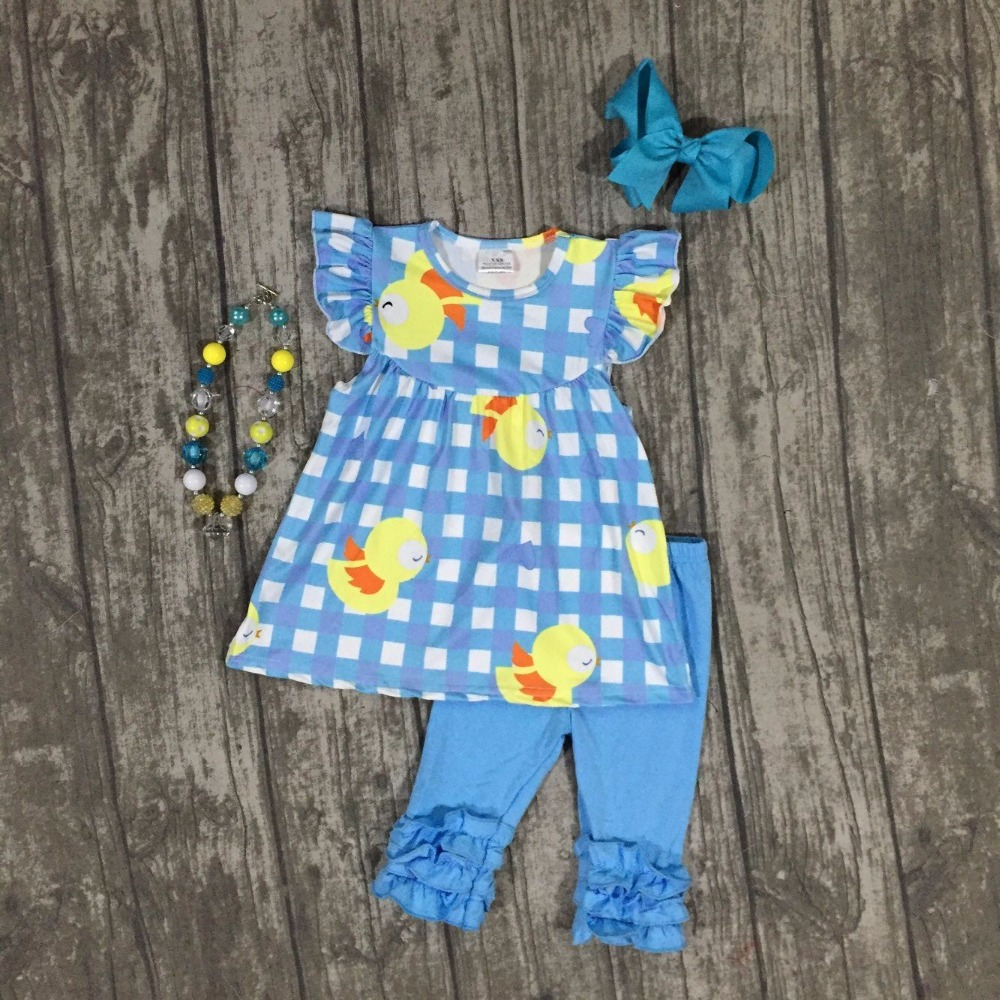 new cotton baby blue chick Easter day plaid outfit girls SUMMER capris clothes short sleeve boutique with matching Accessories lole капри lsw1349 lively capris xl blue corn