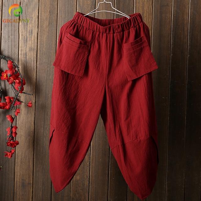 d08d88be US $14.7 30% OFF|Aliexpress.com : Buy Women Vintage Harem Pants Cotton  Linen Loose Baggy Pockets Cropped Trousers Slacks Elastic Waist Plus Size  Solid ...