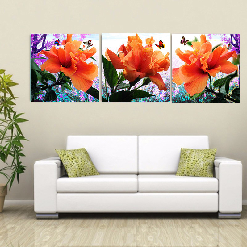 Direct Selling Hot Sale Unframed 3 Pieces Hibiscus Flower