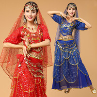6 Color Bollywood Indian Belly Dance Costumes for Women Dance Set Oriental Dance Costumes Danza Del Vientre