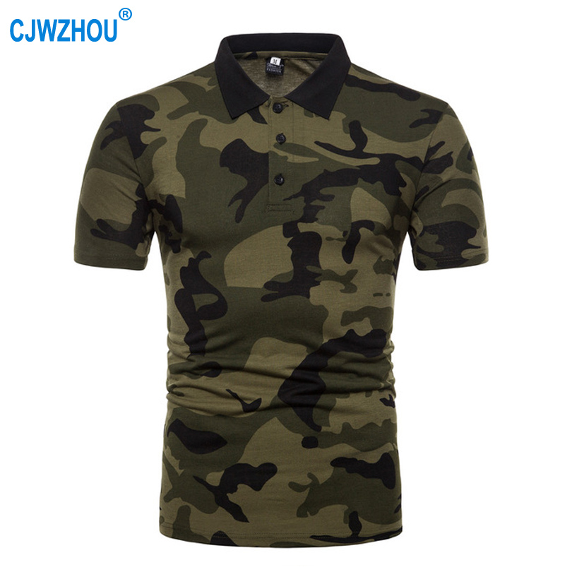 Summer Men   Polo   Shirts Polyester camouflage Button Short Sleeve Casual Slim Coffee Army Green Mens   Polo   Shirts Size S-3XL CJW