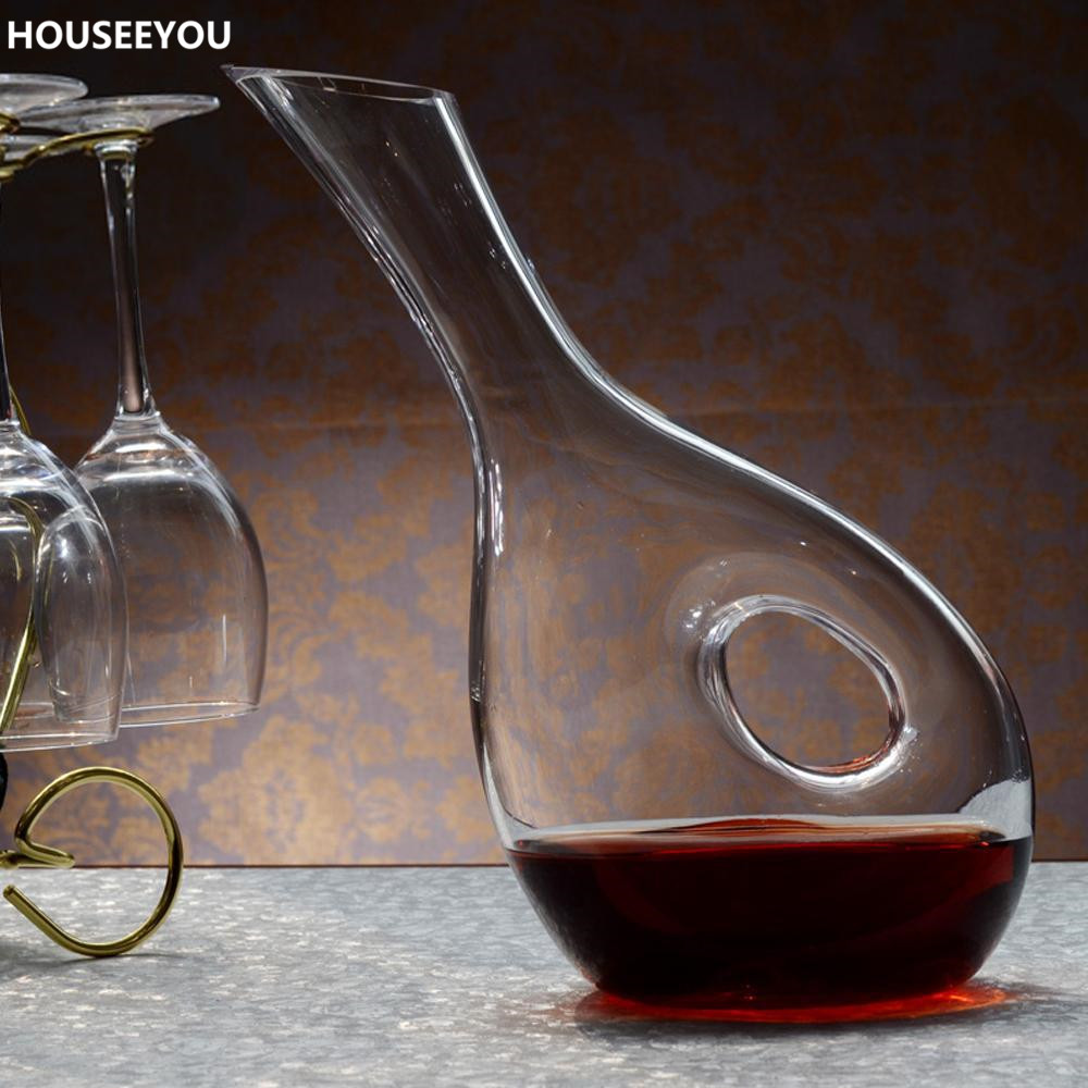 1000ml Glass Wine Decanter Lead Free Tilted Snail Shaped Wine Container Aerator Wine Dispenser Carafe Bartender