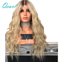 180% Density Ombre Human Hair Lace Front Wig 613 Blonde Ash Roots 13*4 Pre Plucked Remy Hair Lace Wigs with Baby Hair Qearl Hair