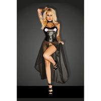 HU GH Plus Size Erotic Halter Corset Bandage Pole Dance Night Dress Wetlook Vinyl Kleid Mesh
