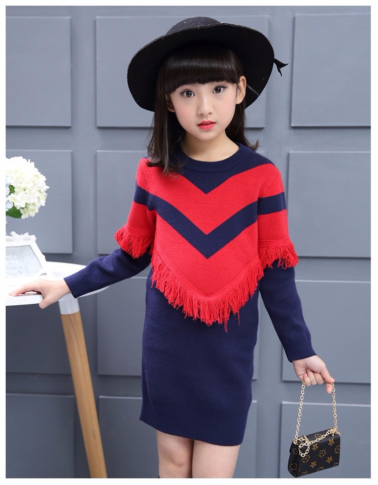 297af2955 tassels fleece knitted dress autumn winter sweater for girls ...