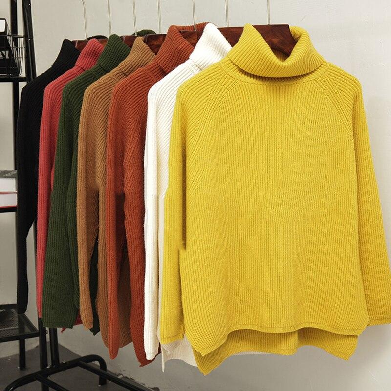 7 couleurs disponibles femmes automne hiver chandail tricoté col roulé Style coréen 2019 femme pull pull
