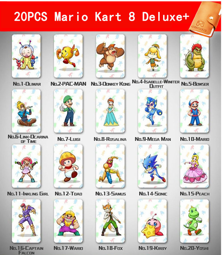 20 Pcs/ Lot Mario Kart 8 Deluxe Amiibo NFC Tag Cards Set For NS Switch